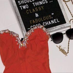 Sky brand mini dress orange swavorski crystals